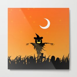 Nightmare Halloween Starry Night Metal Print