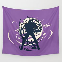 Black Japanese Ninja Warrior Fantasy Silhouette Wall Tapestry