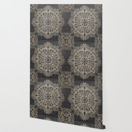 Mandala White Gold on Dark Gray Wallpaper