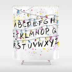 Stranger Things Alphabet Wall Christmas Lights Typography Shower Curtain