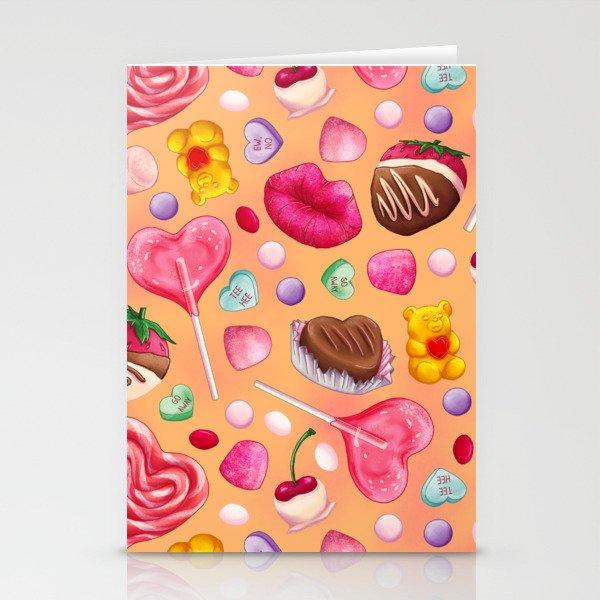 Valentine's Day Candy Pattern Stationery Cards