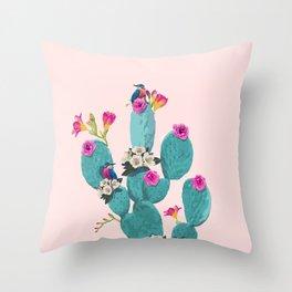 Cactus Hummingbirds Throw Pillow