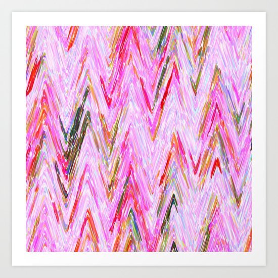 Girly Pink Abstract Chevron Geometrical Pattern Art Print