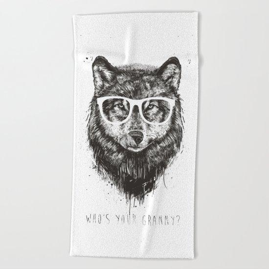 Who's your granny? (b&w) Beach Towel