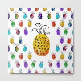 Colorful rainbow pinapple Metal Print