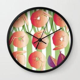 Shrimps with Pomegranates Sauce Wall Clock