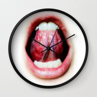 mouth Wall Clocks featuring Mouth by Tiffany Tremaine (birdy)