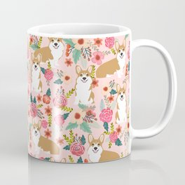 Corgi Florals - vintage corgi and florals gift gifts for dog lovers, corgi clothing, corgi decor, Coffee Mug