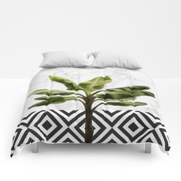 Banana Plant on White Marble and Checker Wall Comforters