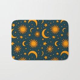 Vintage Sun and Star Print in Navy Bath Mat