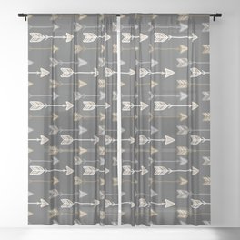 Neutral Tribal Arrows Pattern - Brown Gray Sheer Curtain