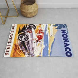Vintage 1936 Monaco Grand Prix Racing Wall Art Rug