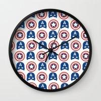 steve rogers Wall Clocks featuring Steve Rogers by Aya Ghoneim