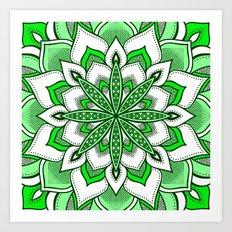 Mandala Flower : Green  Art Print