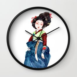 Watercolor Korean beauty - Dark Blue Wall Clock