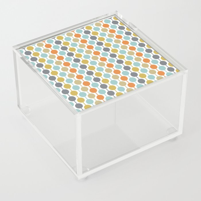 Retro Circles Mid Century Modern Background Acrylic Box