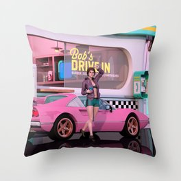 80s Drive-in Throw Pillow