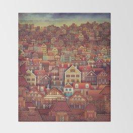Cute City Street Scene ,Many Houses Throw Blanket