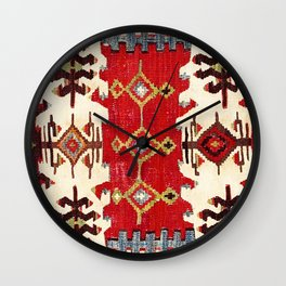 Burdur  Antique South West Anatolia Turkish Kilim Print Wall Clock