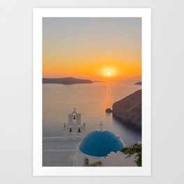 Three Bells Santorini Art Print