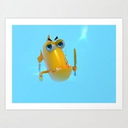 Hungry! The Dangerous Fish! NoLettering Art Print