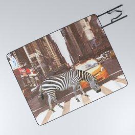 Zebra in New York City Picnic Blanket
