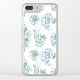 Succulents Pastel Mint Green Turquoise Teal Sky Blue Pattern Clear iPhone Case