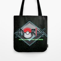 snorlax Tote Bags featuring snorlax - pocket monsters and nice sprites. by dann matthews