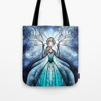mandie manzano Tote Bags featuring The Snow Queen by Mandie Manzano