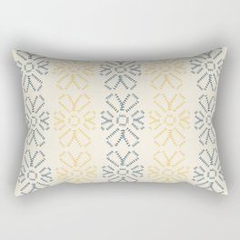 Embroidered flowers yellow and grey pattern Rectangular Pillow
