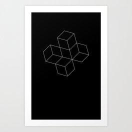 Cubes - White Art Print