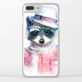 Cute fashion hipster animals pets raccoon Clear iPhone Case