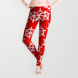Ship Wheel (White & Red Pattern) Leggings