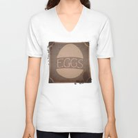 eggs V-neck T-shirts featuring Eggs by brit eddy