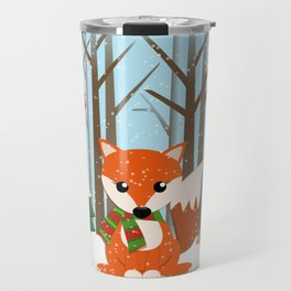 Cute winter fox with a red / green scarf, Travel Mug