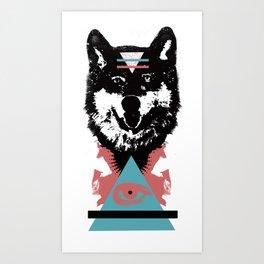 Hipster Wolf Art Print