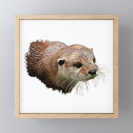 Otter canvas, animal friend, aquatic animal Framed Mini Art Print
