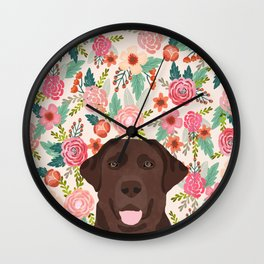 Chocolate Lab floral dog head cute labrador retriever must have pure breed dog gifts Wall Clock