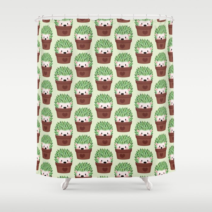 Hedgehogs disguised as cactuses Shower Curtain