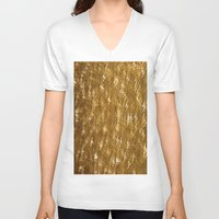 gold glitter V-neck T-shirts featuring Gold Glitter 1323 by Cecilie Karoline