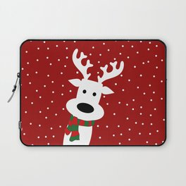 Reindeer in a snowy day (red) Laptop Sleeve