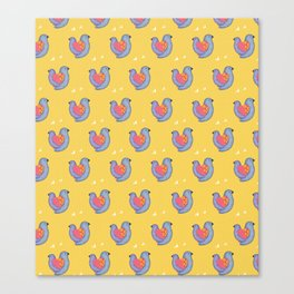 Birds and Hearts on Primrose Yellow Canvas Print