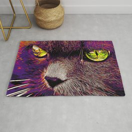 persian cat great eyes evil look vector art late sunset Rug