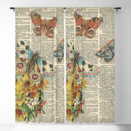 Butterflies on Dictionary Page Blackout Curtain