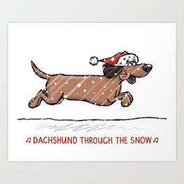 Dachshund Through the Snow Art Print