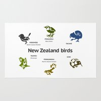 maori Area & Throw Rugs featuring New Zealand Birds by mailboxdisco