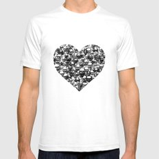 Skull Black Heart Mens Fitted Tee SMALL White