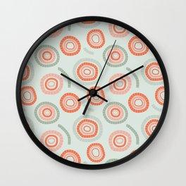 circles orange & green Wall Clock