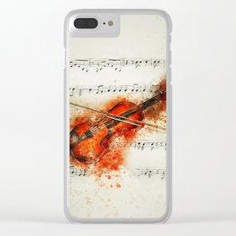 Watercolor Violin (Color) Clear iPhone Case