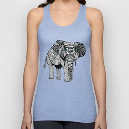 Tribal Elephant Black and White Version Unisex Tank Top